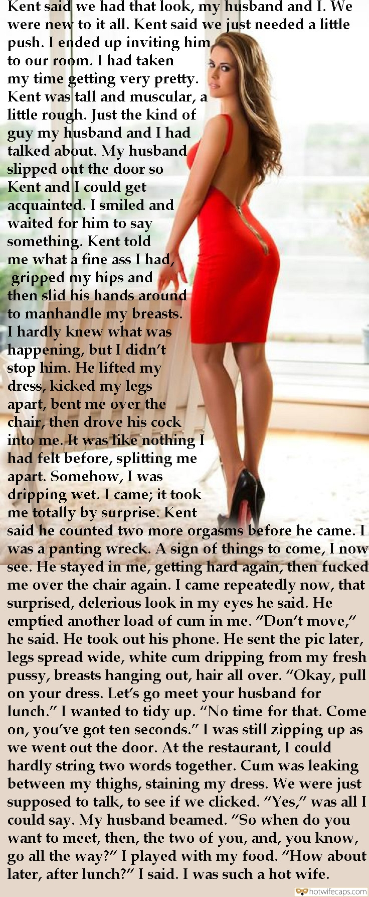 SFW Caps Dirty Talk  hotwife caption: Kent said we had that look, my husband and I. We were new to it all. Kent said we just needed a little push. I ended up inviting him, to our room. I had taken my time getting very pretty....