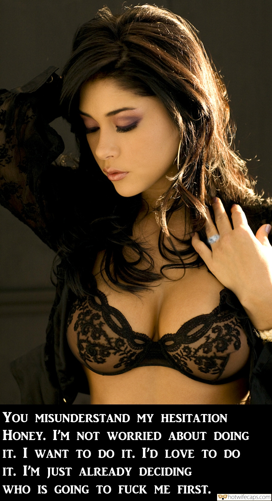 Latina Poses in See Through Black <strong>Bra</strong>